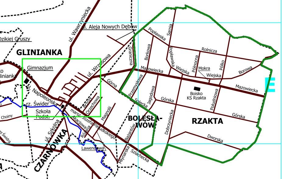 Plan Rzakty, fragment mapy UG Wiązowna