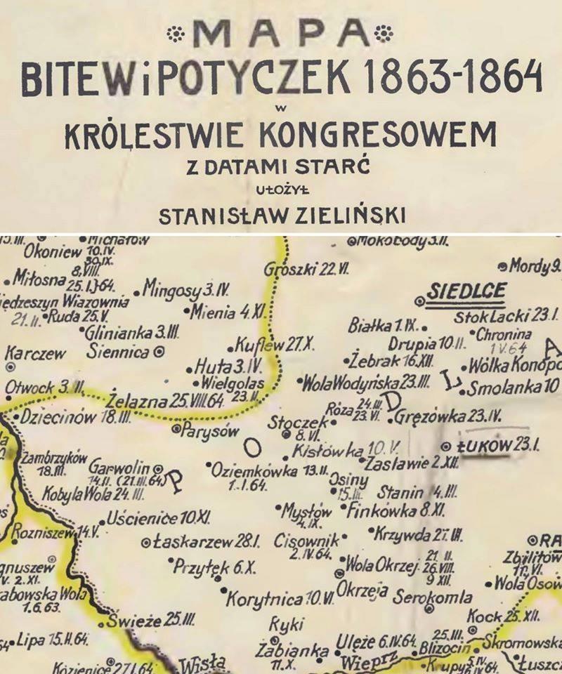 Mapa bitew i potyczek 1863-1864