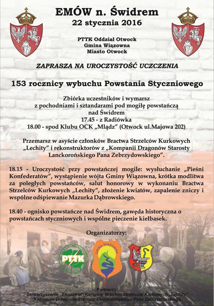 22 stycznia, Uroczystość uczczenia 153 rocznicy Powstania Styczniowego, Emów