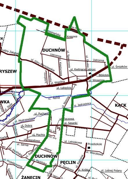 Położenie ulic w Duchnowie