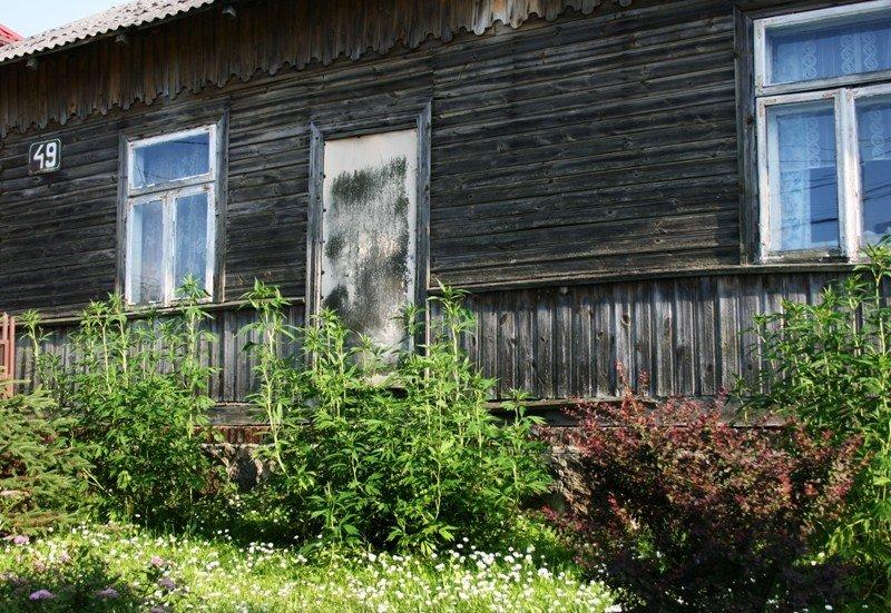 Jeden z zachowanych drewnianych domów z połowy XIX wieku; foto: A. Sękowska