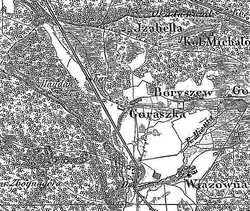 Mapa II poł. XIXw., źródło: strona  Stara Miłosna & okolice, wczoraj, dziś i jutro na FB