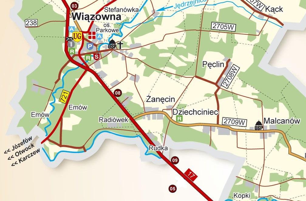 Rudka - położenie, na podstawie mapy UG Wiązowna
