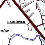 Radiówek na mapie, fragment mapy UG Wiązowna