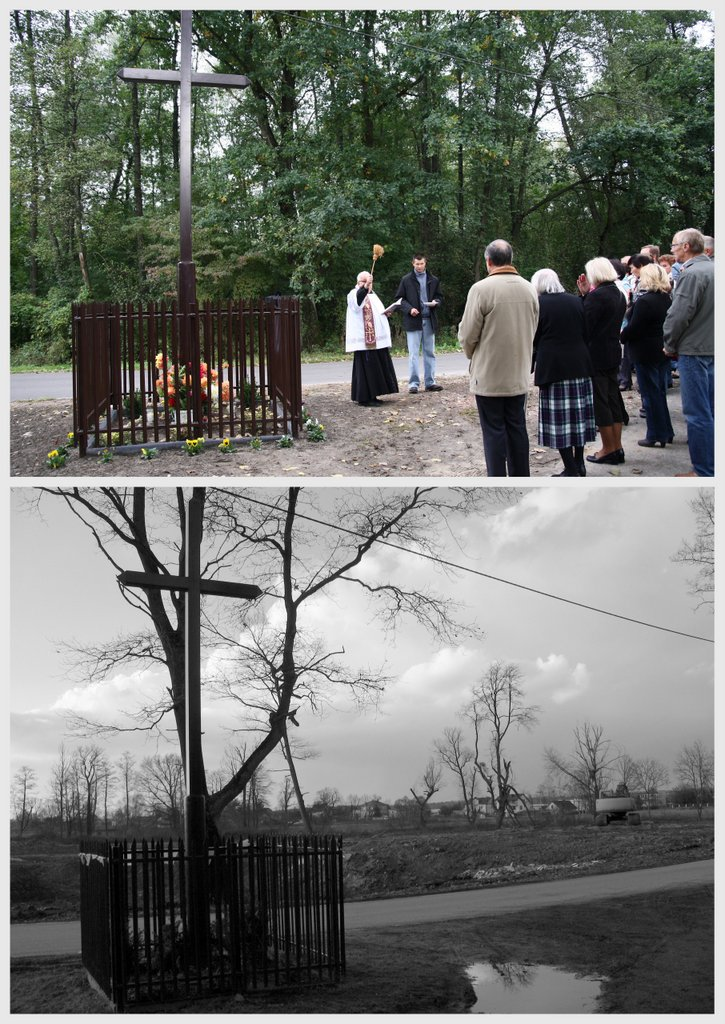 Krzyż w Golicy, wrzesień 2012 i luty 2016, foto: RS