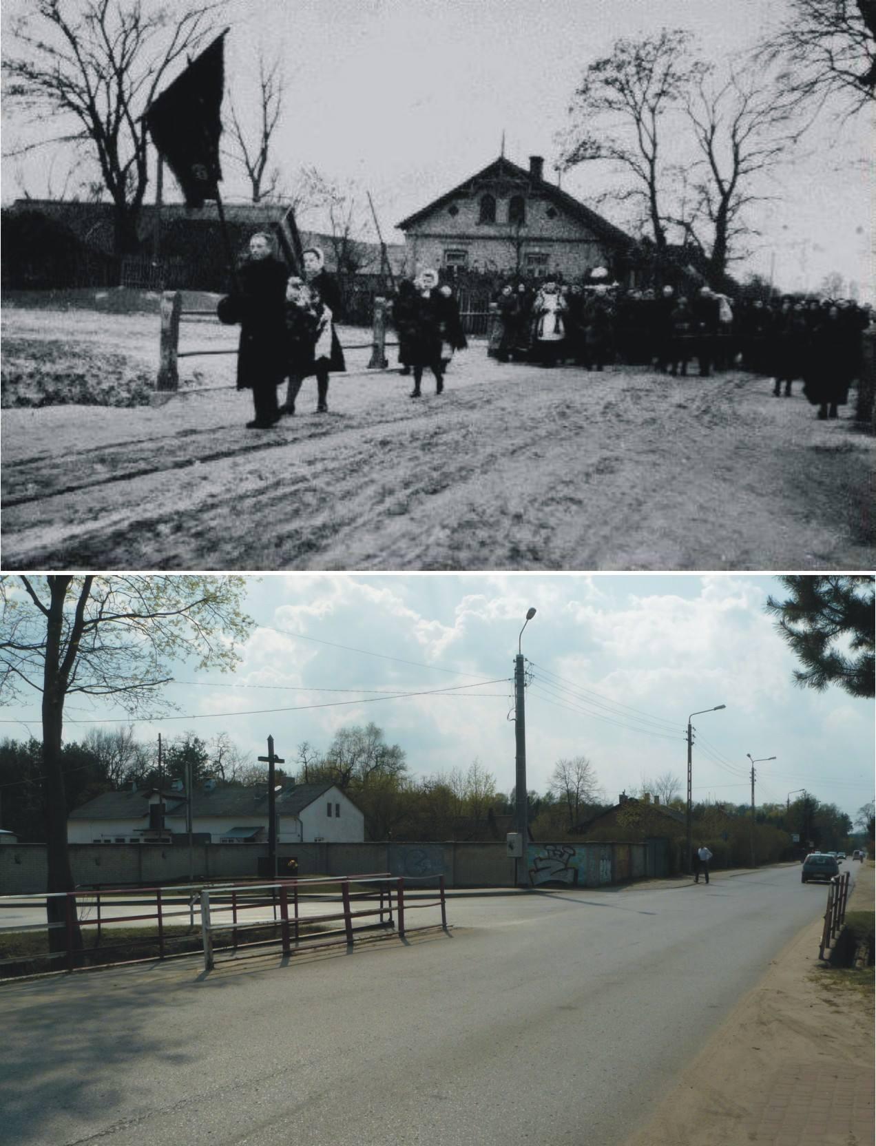 3. ul. Kościelna, styczeń 1944 r. Pogrzeb Anieli Wojdygi (1856 -1944). Foto: Józef Grzybowski, foto współczesne: Paweł