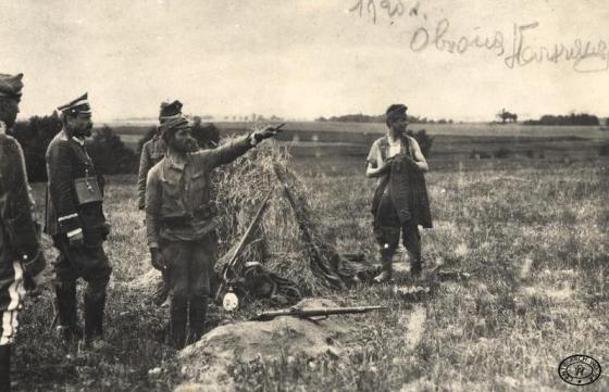 """Generał Haller wizytuje wysunięte stanowisko tzw. """"czujkę"""" na Przedmościu Warszawa, sierpień 1920"""
