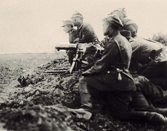 Stanowisko polskiego ciężkiego karabinu maszynowego –Przedmoście Warszawa sierpień 1920.