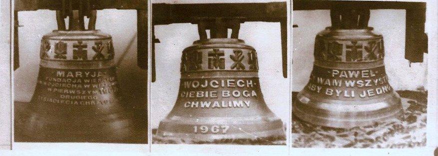 Trzy dzwony ufundowane w 1967 roku, Foto: autor nieznany, arch: RS