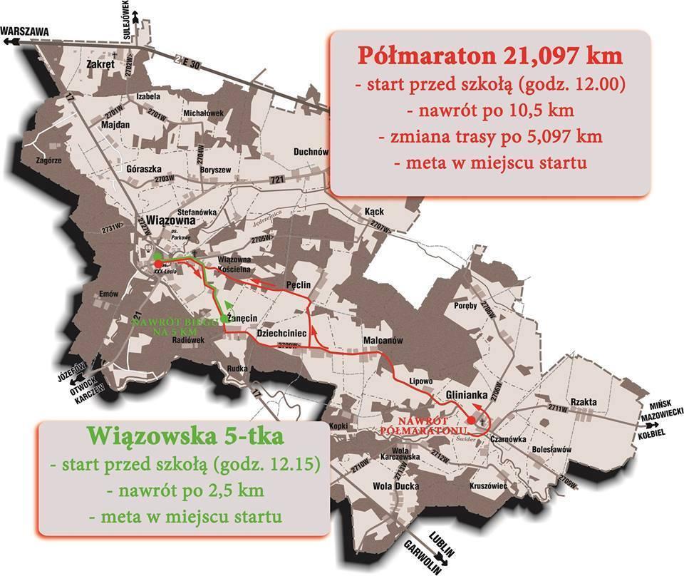 Nowa trasa Półmaratonu Wiązowskiego