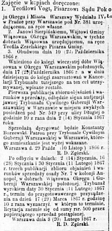 Dziennik Warszawski, nr 44, 23 lutego 1867 roku