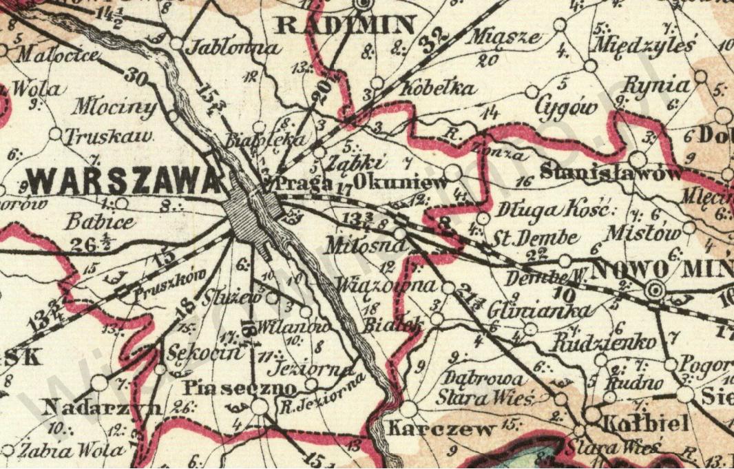 Mapa pocztowa z 1873 roku