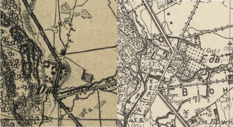 Po lewej mapa z 1850 roku ze zbiorów Cyfrowej Bibliotek Narodowej POLONA, po prawej niemiecka mapa zaboru rosyjskiego z 1914 roku, ze zbiorów Wydziału Geografii i Studiów Regionalnych UW