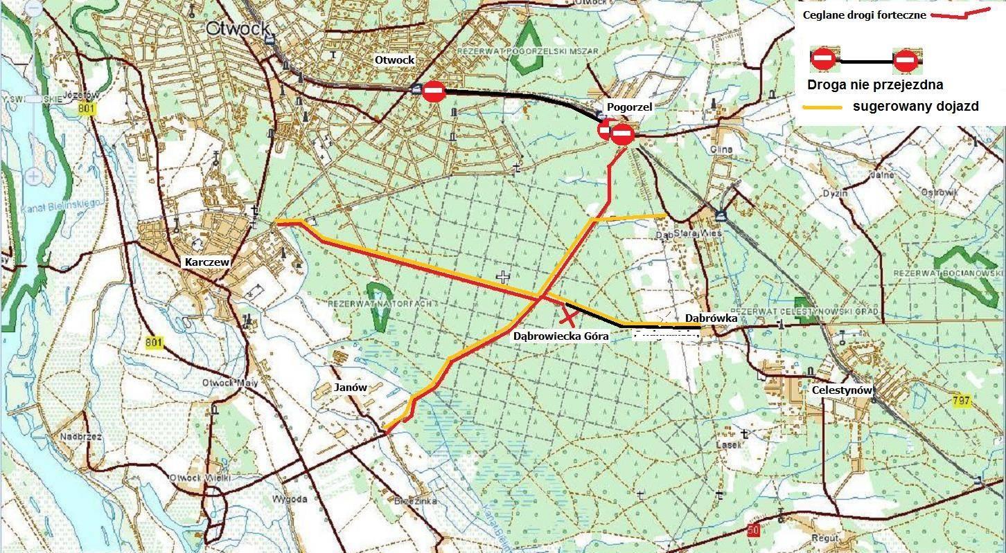 Utrudnienia komunikacyjne Dąbrowiecka Góra 2016