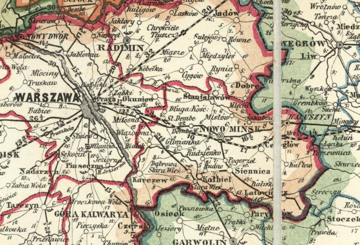 Trakt Brzeski i stacje pocztowe w okolicach Warszawy, Mapa pocztowa z 1873 r. źródło: Biblioteka Narodowa
